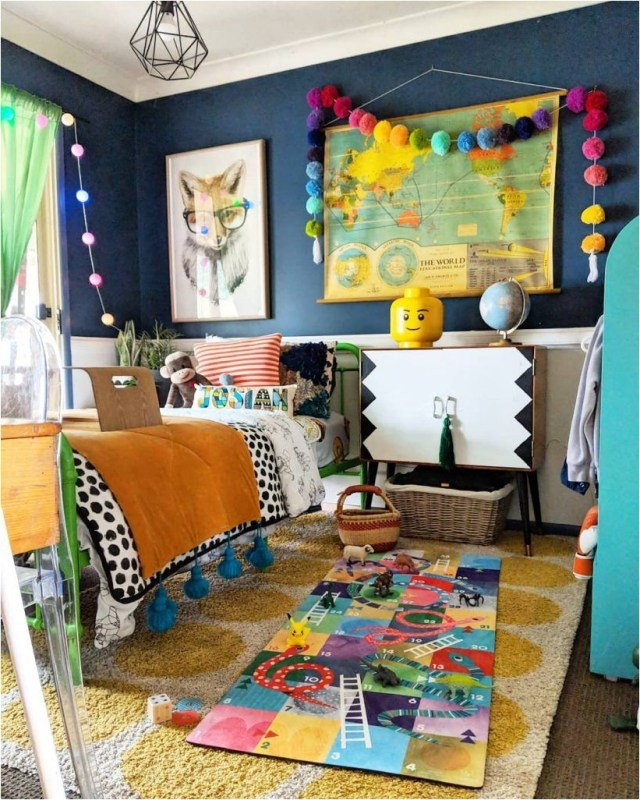 Yellow And Blue Color Kids Bedroom