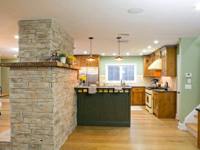 Awesome Open Concept Kitchen Stone Walls Design