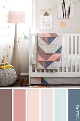 Colour Swatch Grey Walls Pink Curtains Gold Accents Nursery Ideas Girl Grey, Blue Nursery Girl
