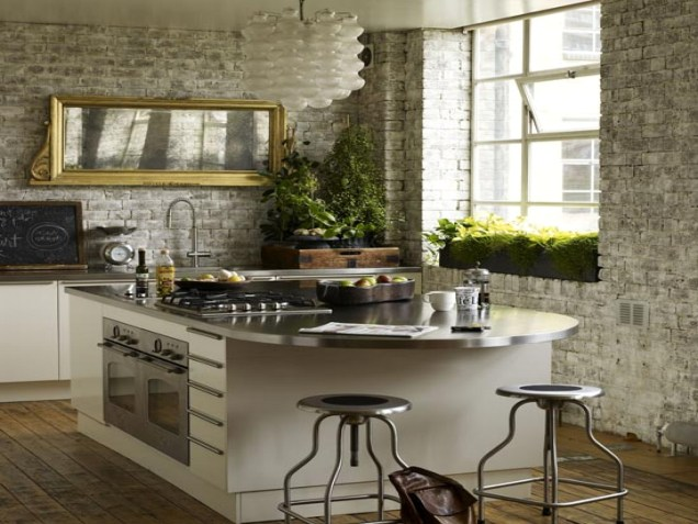 Rustic Styled Kitchen With Stone Wall