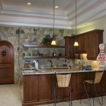 Small Laminated Kitchen Cabinet Pantry Pendant Lamps Stone Walls Rattan Stools Kitchen Walls [constructivechoice.co.uk]