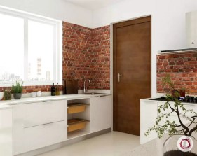 Stone Wall Cladding Ideas Warm Tones In Modern White Kitchen