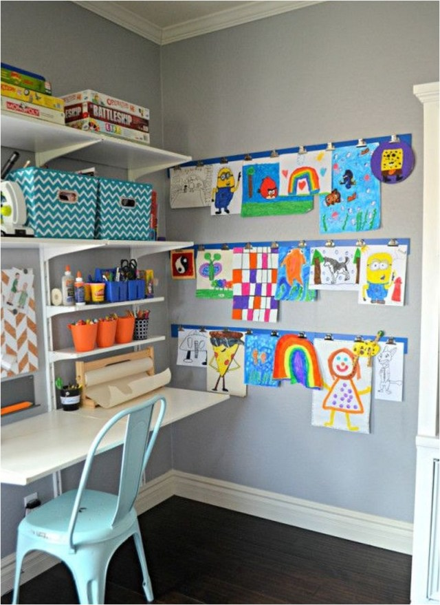 Colorful Study Desk With Kids Art Work