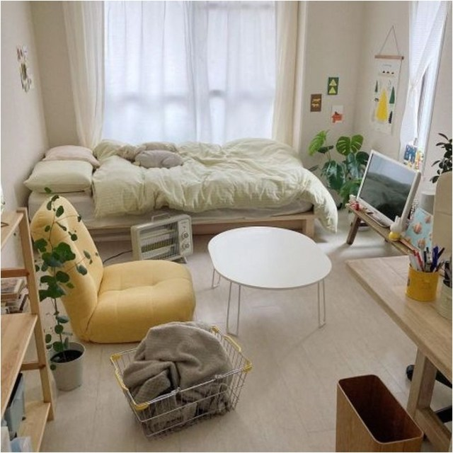 Single Bedroom With Low Bed And Small Table Ideas