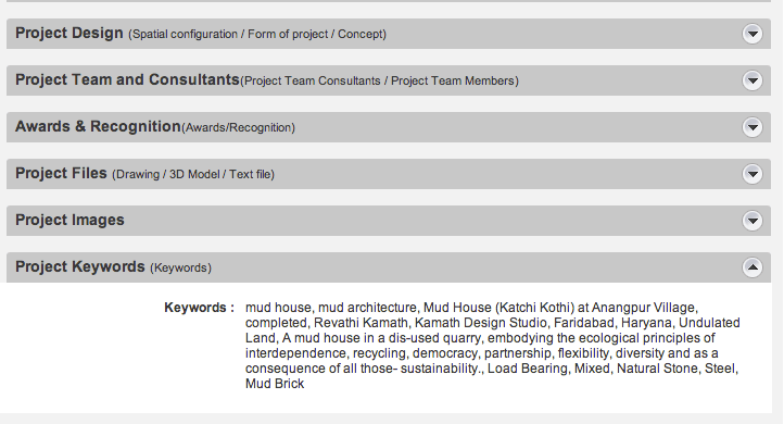 Keywords for Indian Architectural Projects