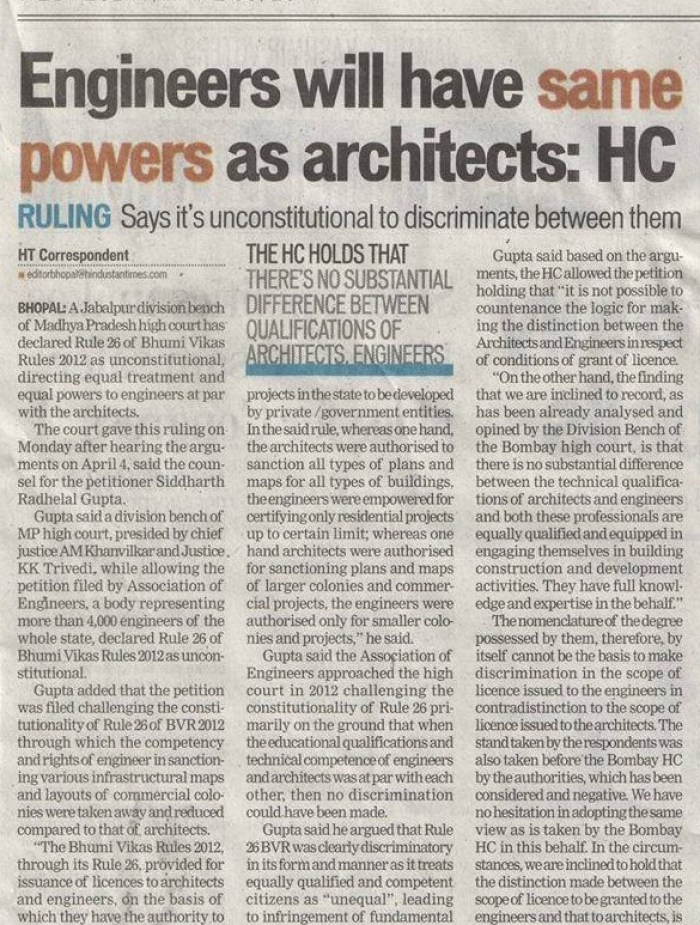 Engineers to have same powers as architects