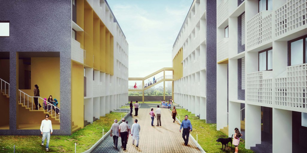 Udaan: a low cost mass housing project at Mumbai, by Sameep