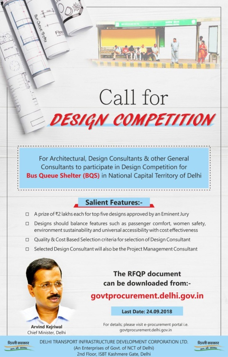 Call for Design Competition of Bus Queue Shelters in Delhi NCR, by Delhi Government 3