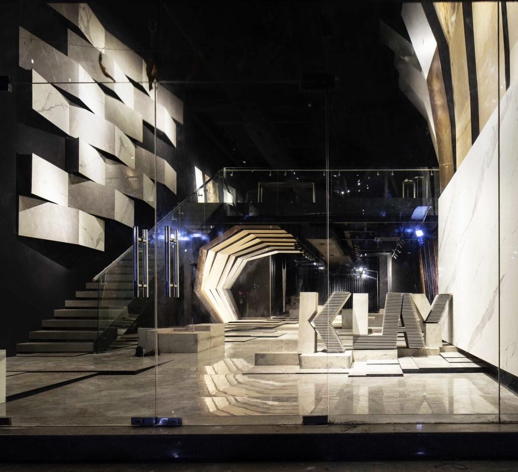 MOFA Studio creates a theatrical monochromatic space for a tile showroom in Gurgaon 8
