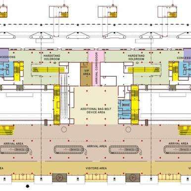 Domestic terminal arrival level floor plan