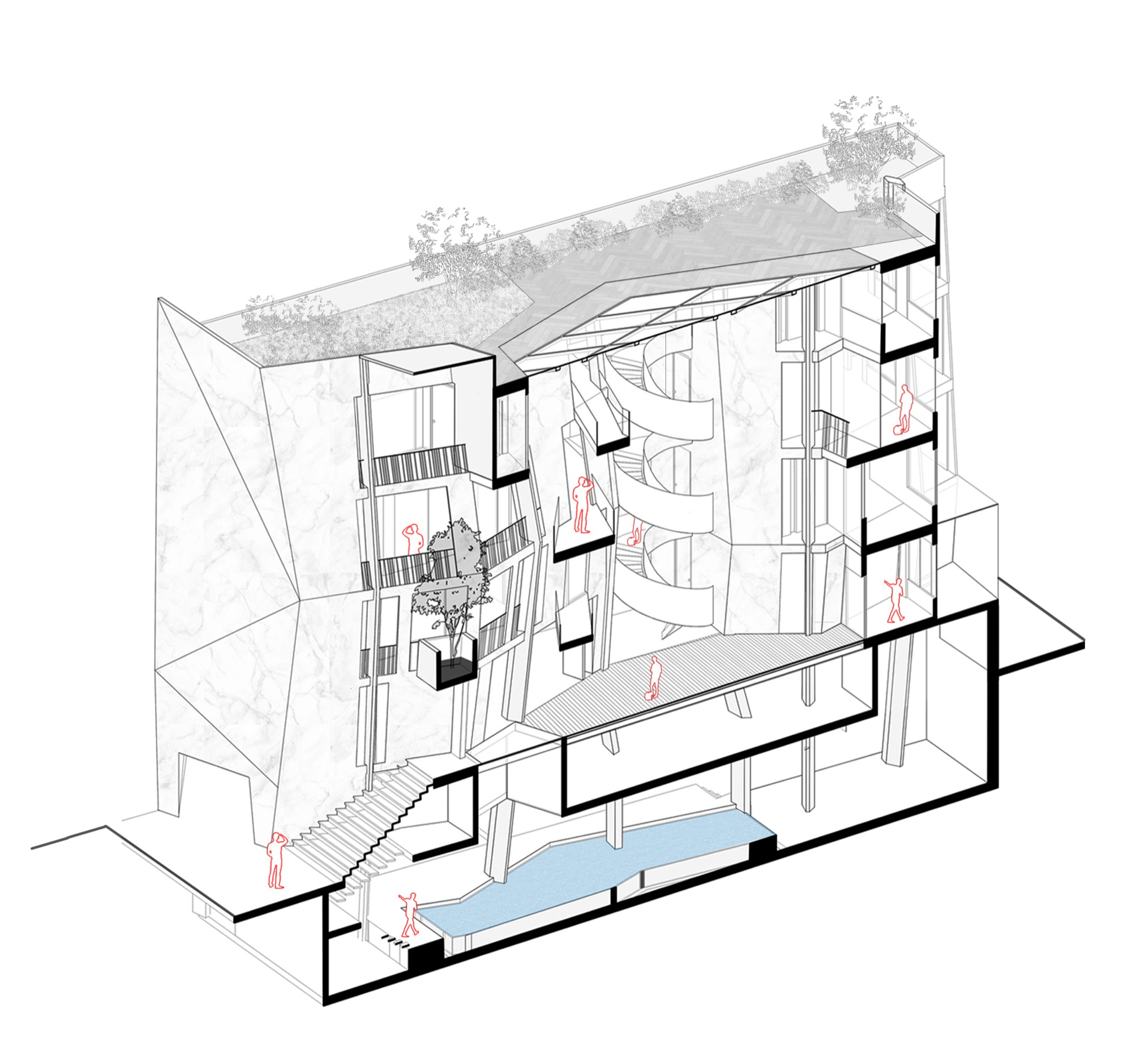Anagram Architects incise the cleft house to allow the light in 6