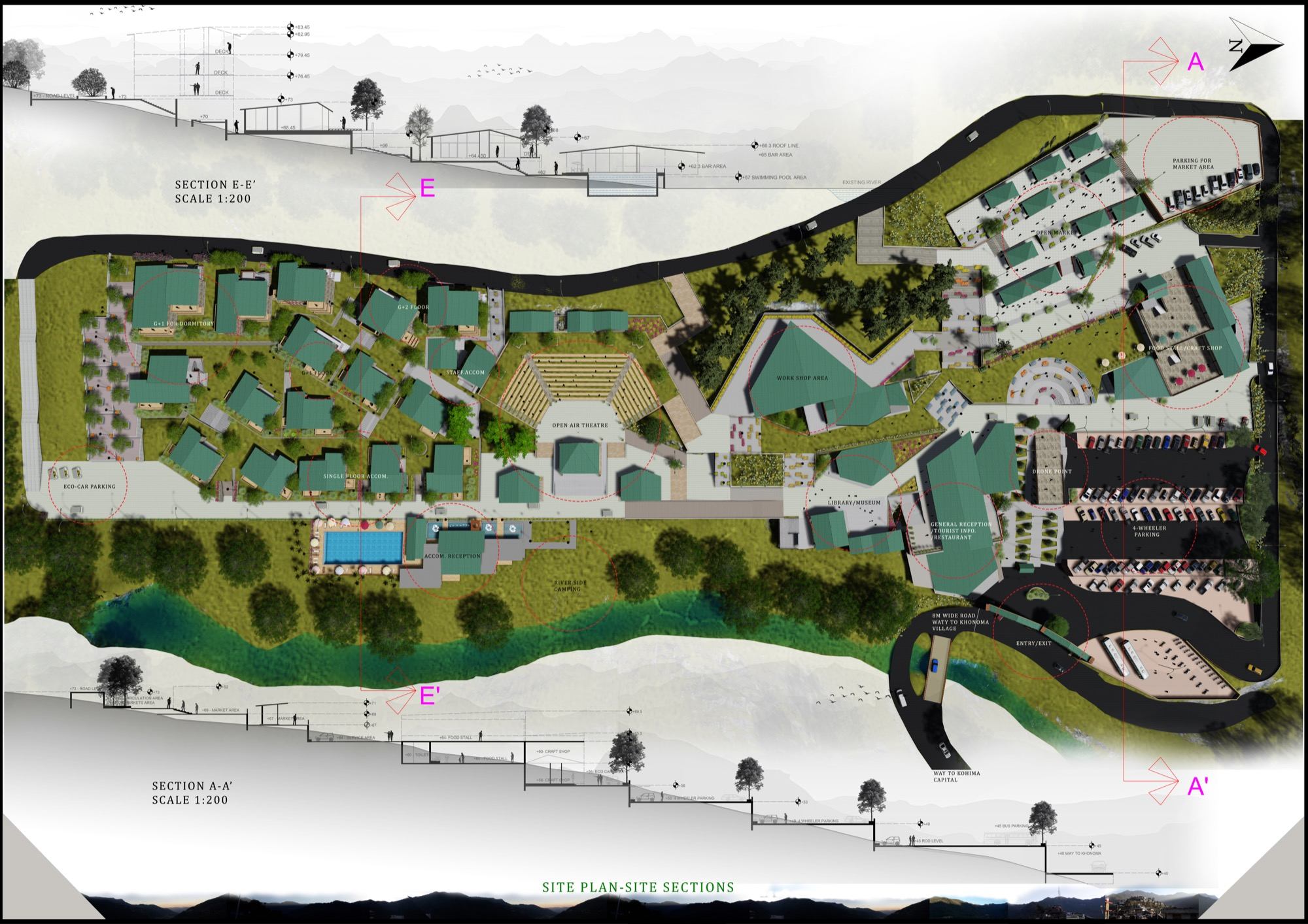 B.Arch Thesis: Eco-Tourist Hub of KHONOMA Village, By Shanjo A. Kithan, ITM University-Gwalior 18
