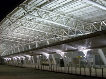 View of entrance canopies at night3