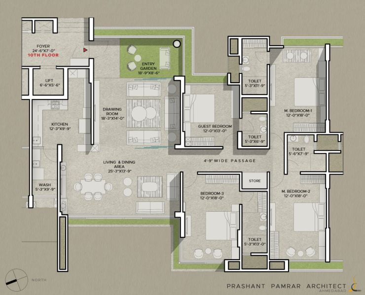 4 BHK Maple Tree Interior Design, at Ahmedabad, by Shayona Consultant | Prashant Parmar Architect 19