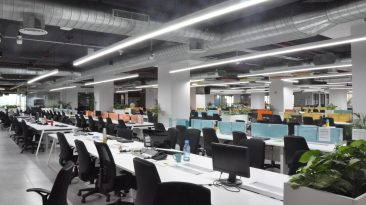MAIN OFFICE WORKSPACE AS OPEN PLAN CONCEPT