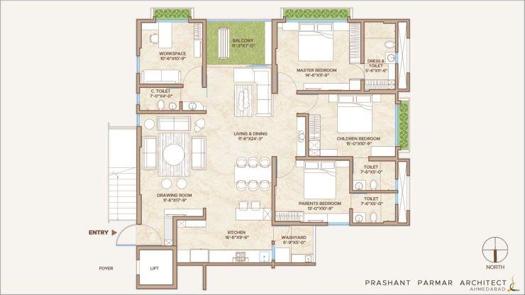 4 BHK Apartment at, Ahmedabad, by Shayona Consultant 2