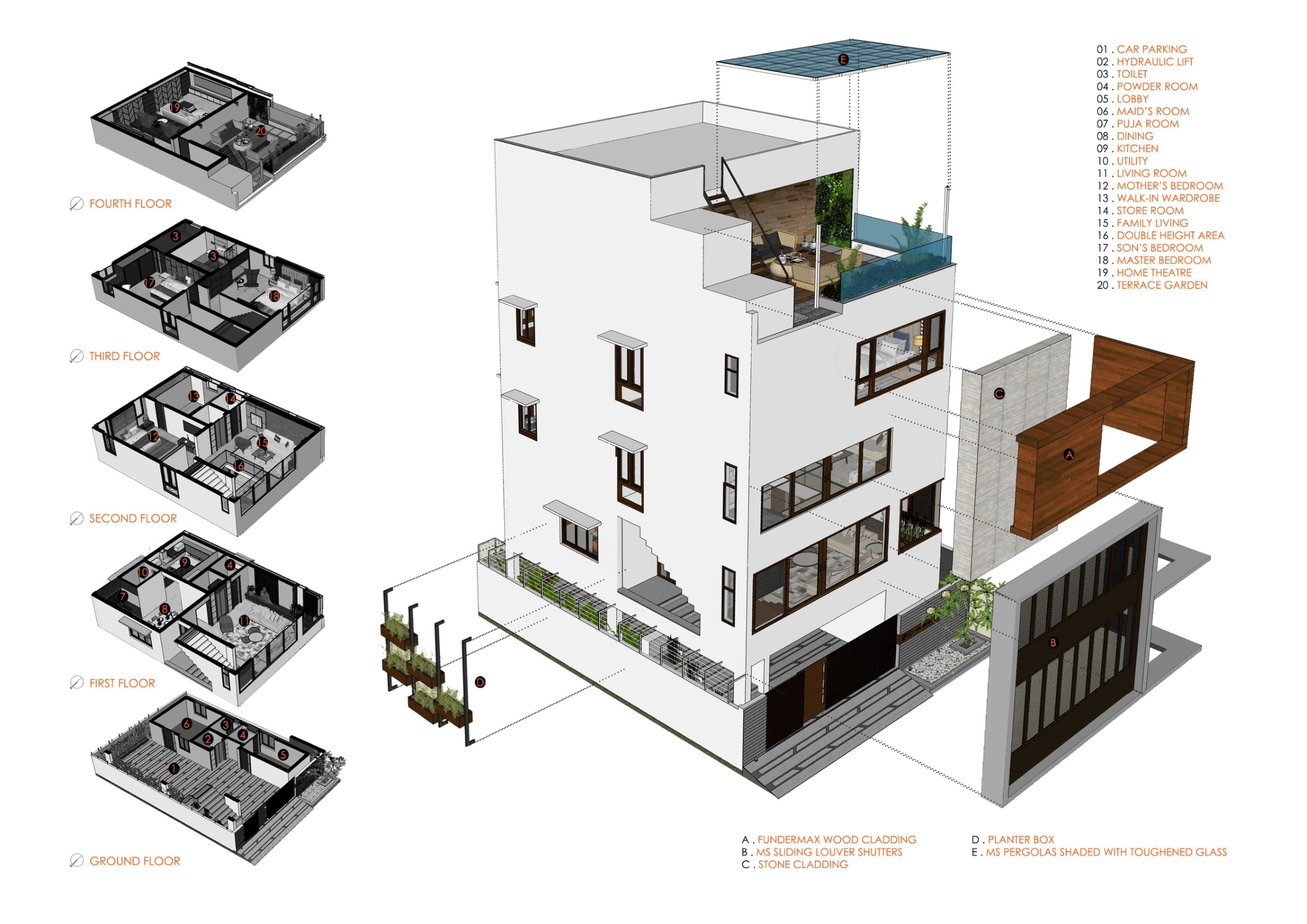 LOUVERED HOUSE, at Bangalore, by White Shadows Design Studio 42
