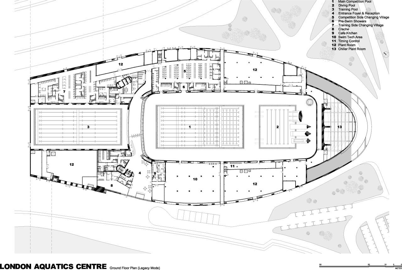 London Aquatics Centre Diagrams And Drawings