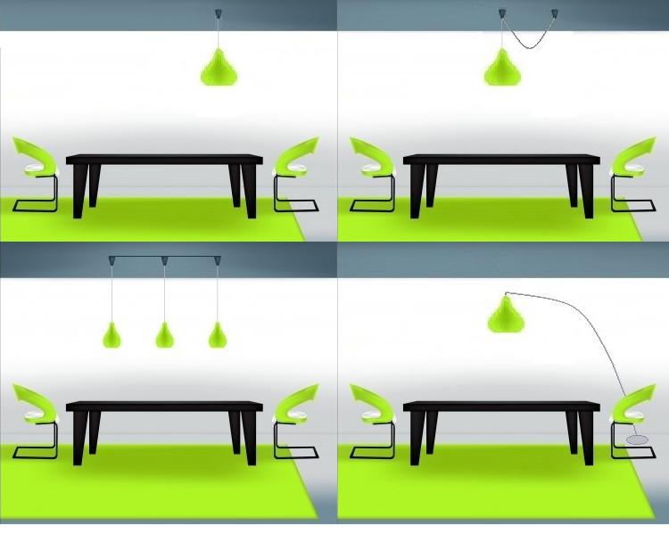 punto luce decentrato sul tavolo