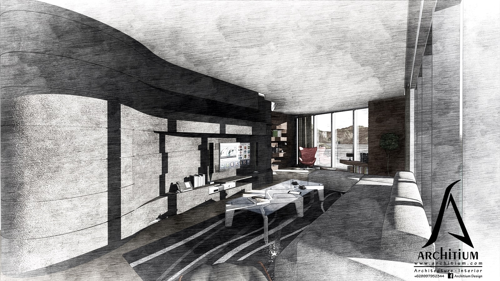 Interior-Apartment-Jakarta-Regatta-Living to Reading Sketch