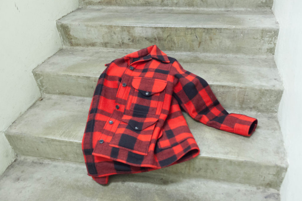 Wool Filson jacket on stairs
