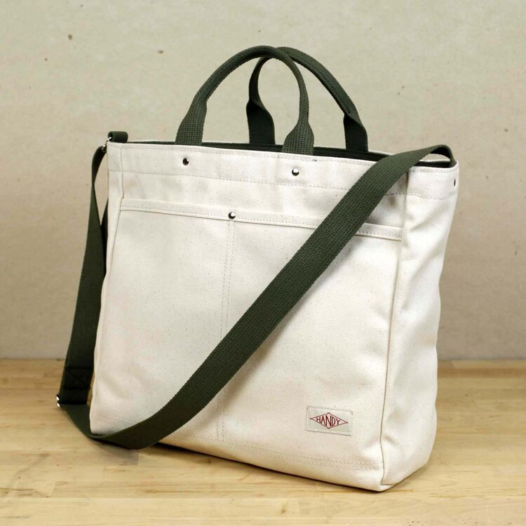Handy Tote - natural with olive strap