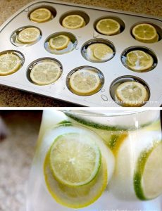 Եթէ սափորով ջուր պիտի բերէք սեղան փոխանակ զայն սառոյցի կտորներով պաղեցնելու, կրնաք ջուրին աւելցնել սառած կիտրոնի շերտեր` նախապէս քափքէյքի կաղապարներու մէջ սառցարանին մէջ սառեցուած: