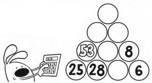 Կրնա՞ս բուրգը ամբողջացնել` գիտնալով, որ իւրաքանչիւր շրջանակի մէջի թիւը հաւասար է անոր տակը գտնուող երկու թիւերուն գումարումին: Այս ձեւով, 25+28= 53: