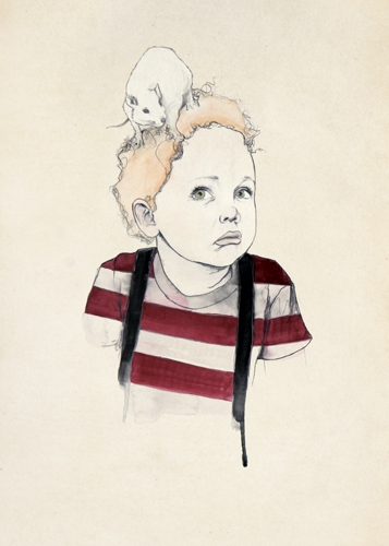 Boy with Rat on Head by Kareena Zerefos