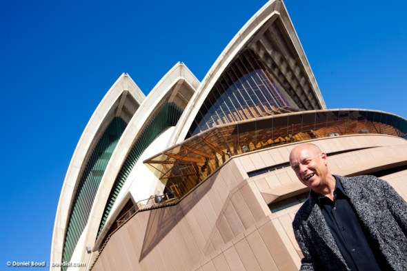Brian Eno has a chuckle underneath the Opera House sails