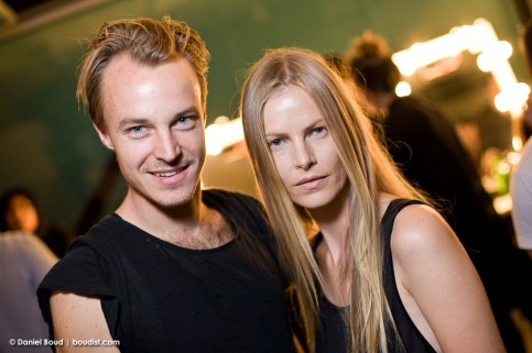 Designer Ben Pollitt with model Emma Balfour
