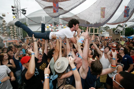 Jake crowd surfing at the Sydney Big Day Out. January 2008