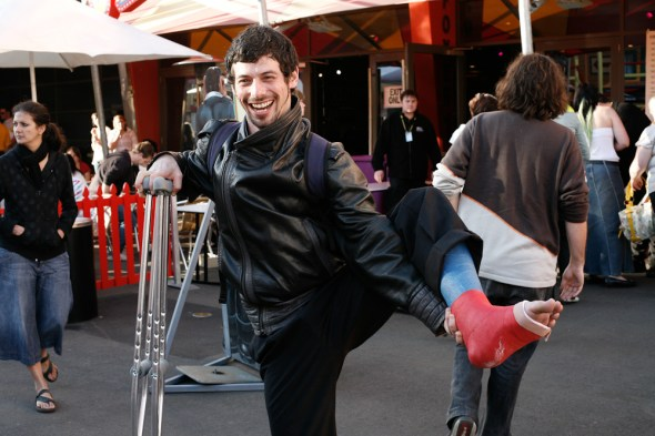 Jake, walking around on a broken leg. June 2008