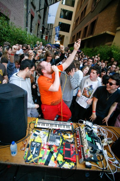 Dan Deacon - in typical fashion is in the crowd, rather than onstage