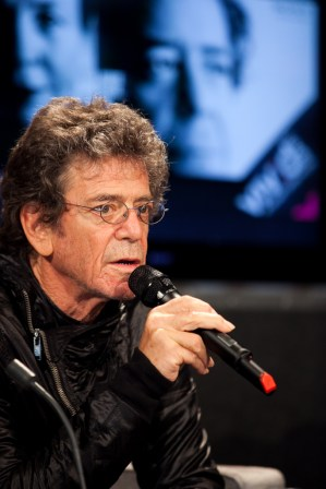 Lou Reed speaks at the press conference to launch Vivid Live