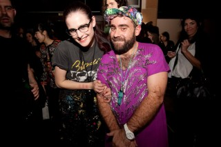 Designers Anna Plunkett and Luke Sales after the show