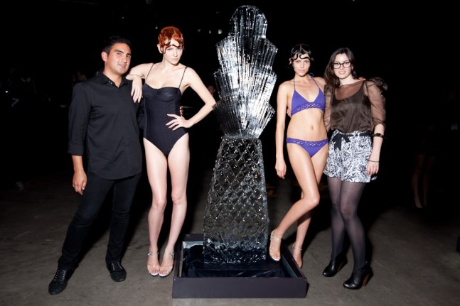 Seventh Wonderland designers Carlos Aviles and Bonnie Coumbe with a couple of models