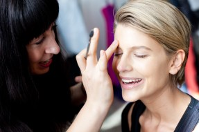 Model Sophie Van Den Akker gets her make up started