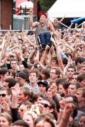 A wheelchair is no impediment to crowd surfing at Melbourne Laneway Festival