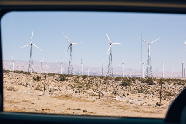 Driving past wind farms