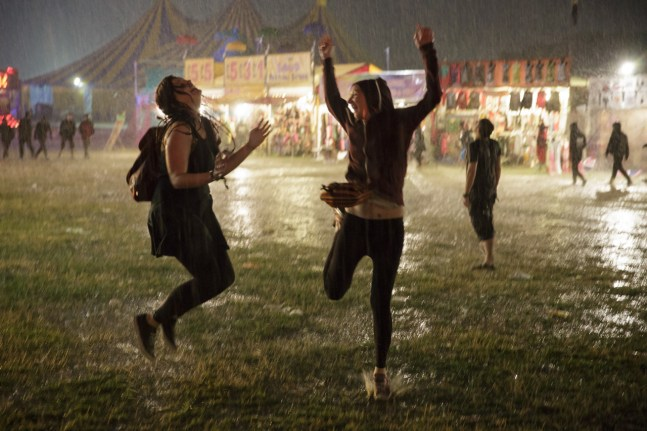 Dancing in the rain on the first night, before the grass turned to mud