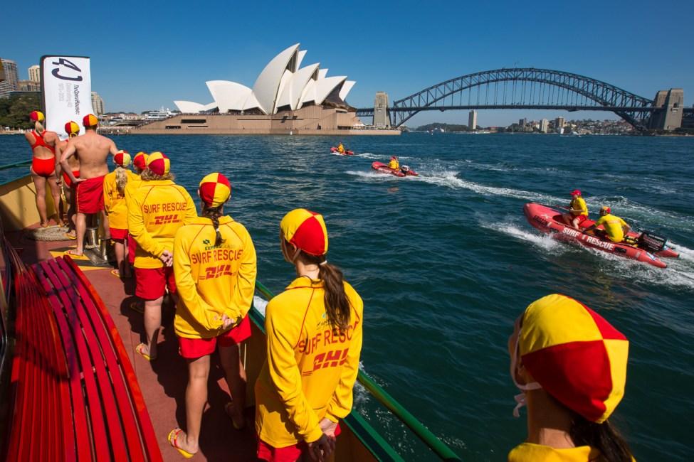 Heading towards the Sydney Opera House on a ferry full of Life Savers