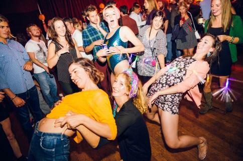 Limbo party on the dance floor