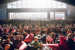 Punters recline on the sought after bean bags