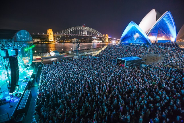 The National perform on the Sydney Opera House forecourt