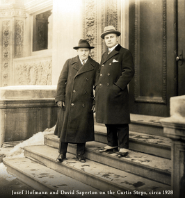 84455 Josef Hofmann with David Saperton on the Steps of Curtis c 1928