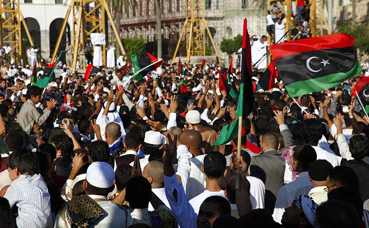 An anti-Gaddafi rally, Libya 2011. (IMAGE: mojomogwai, Flickr)