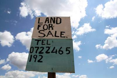 A land-for-sale sign
