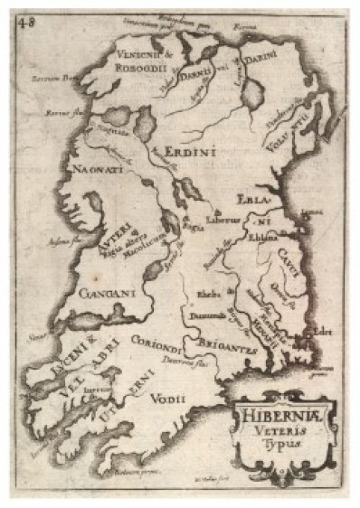 Medieval map of Ireland, showing Irish tribes.