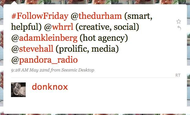 Example of #followfriday